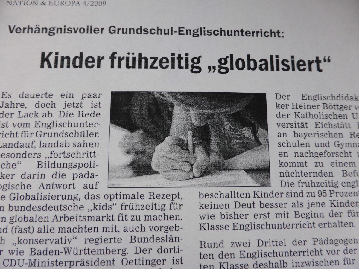 Mangelhafte Pflege der deutschen Sprache